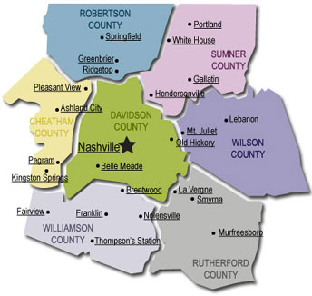 Dumpster Rental Nashville Coverage Area including Robertson, Cheatham, Williamson, Rutherford, Wilson, and Sumner Counties